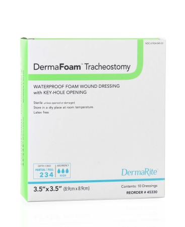 highly absorbent waterproof polyurethane sterile foam dressing tracheostomy bacterial contamination prevention