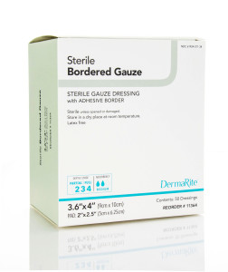 sterile bordered gauze-individually packaged bordered gauze absorptive three layered soft flexible dressing