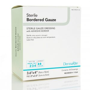 sterile individually packaged bordered gauze absorptive three layered soft flexible dressing